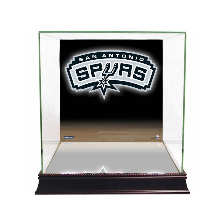 Steiner Sports Glass Basketball Display Case with San Antonio Spurs Logo Background, Multicolor