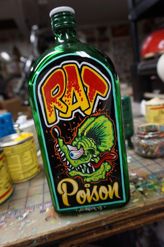"Hand painted Garage Art ""Rat Posion"" bottle"
