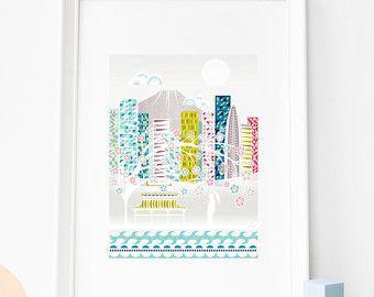 Impression de Tokyo, Tokyo Art Print de la ligne d'horizon, japonais Art Print, illustration de la ligne d'horizon, de la maison, au bureau, bébé, chambre enfants bébés, SPPT1