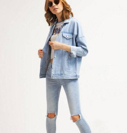 Noisy May NMKEL jasna Kurtka jeansowa w stylu lat 80. light blue denim