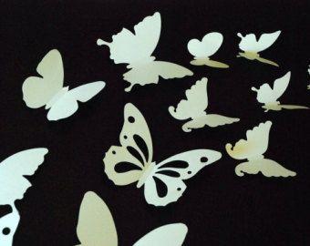 20 pedazos de papel 3D mariposa etiqueta engomada, etiqueta de la pared, decoración de la habitación, cuarto de bebé, color verde inpale la decoración de la boda