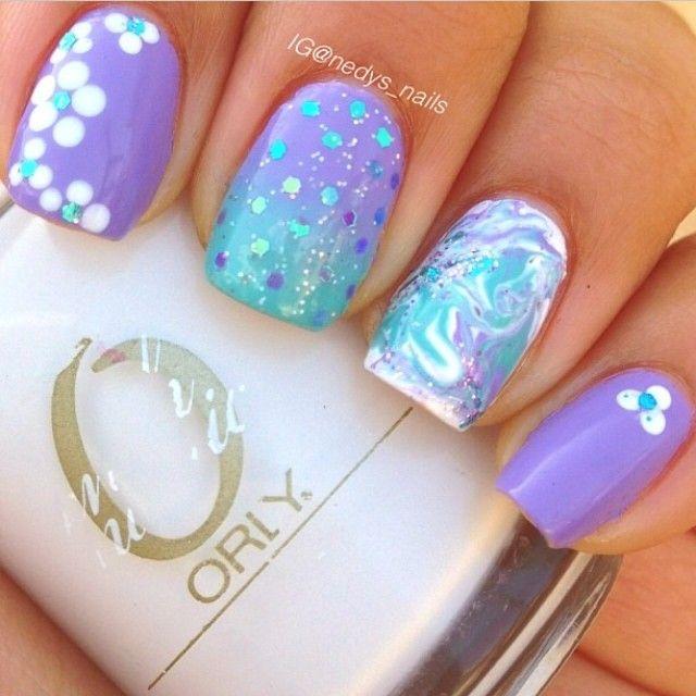 Pretty Water Marble Nail Art: Colors Combos, Nails Design, Nailart, Purple Nails Art, Beautiful, Naildesign, Nails Ideas, Nails Polish, Blue Nails
