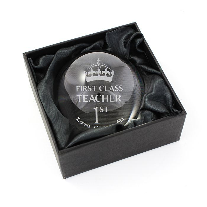 Personalise this 1st Class Dome Paperweight with any role up to 12 characters and a message up to 15 characters First Class and 1st are standard text