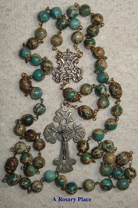 Celtic Ave Maria Crown Bronze Rosary 10mm Blue by arosaryplace, $58.00