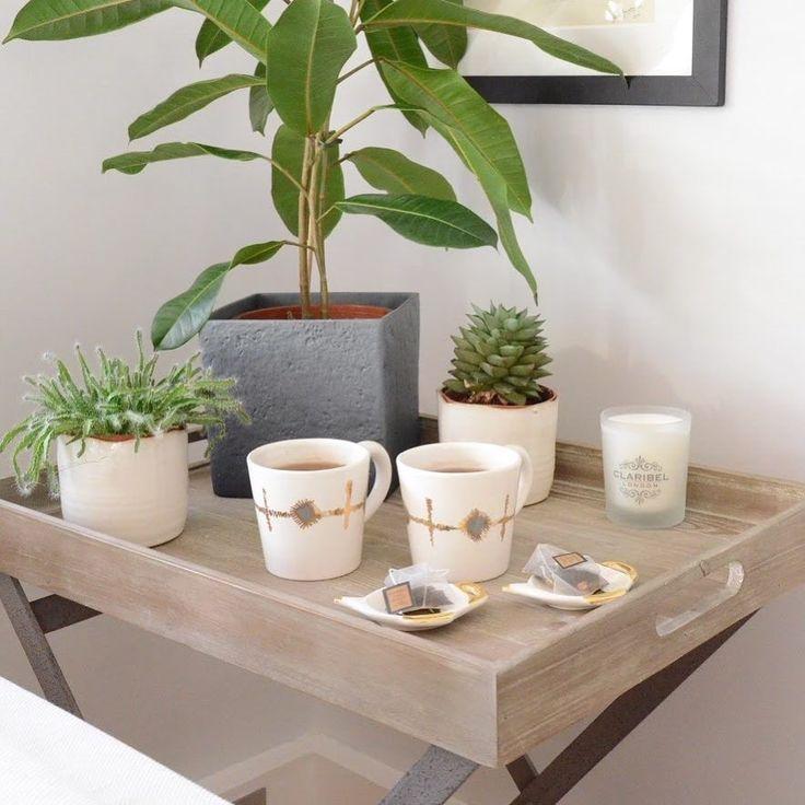 Claribel Mugs and Tea Plates on Loaf Table