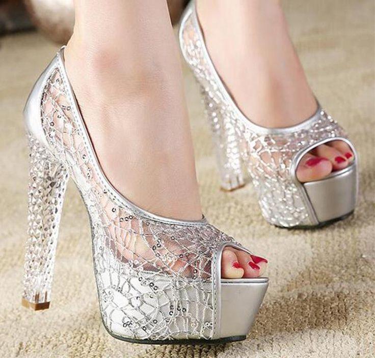 2016 New Crystal Bride Shoes Silver Wedding Sandals Sexy Rhinestone Gold  Heels Elegant Evening Shoes Crystal
