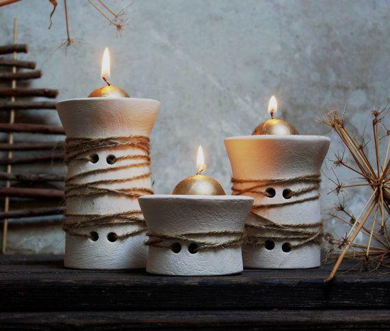 Tre portacandela in ceramica bianca. di NidaCeramiche su Etsy