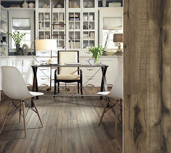 Shaw laminate in a gorgeuos hand-hewn visual. Style Timberline, color  Peavey Grey