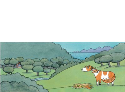 'She loves on a farm at Waratah Bay' limited edition print by Alison Lester.  From picture book 'Noni the Pony' (Allen & Unwin).   Available at Books Illustrated.