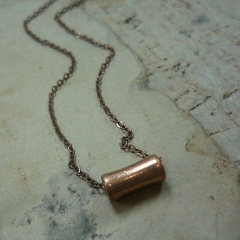 RESERVED for Phyllis - price difference-Copper Tube Pendant, Fine Cable Copper Chain, Small Copper Pendant,  Casual Copper Necklace