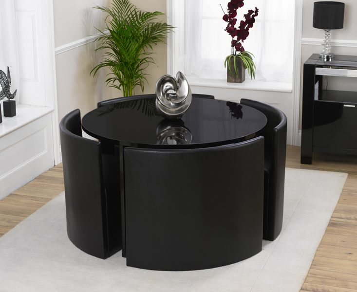 Buy The Oslo Black High Gloss Round Stowaway Dining Table