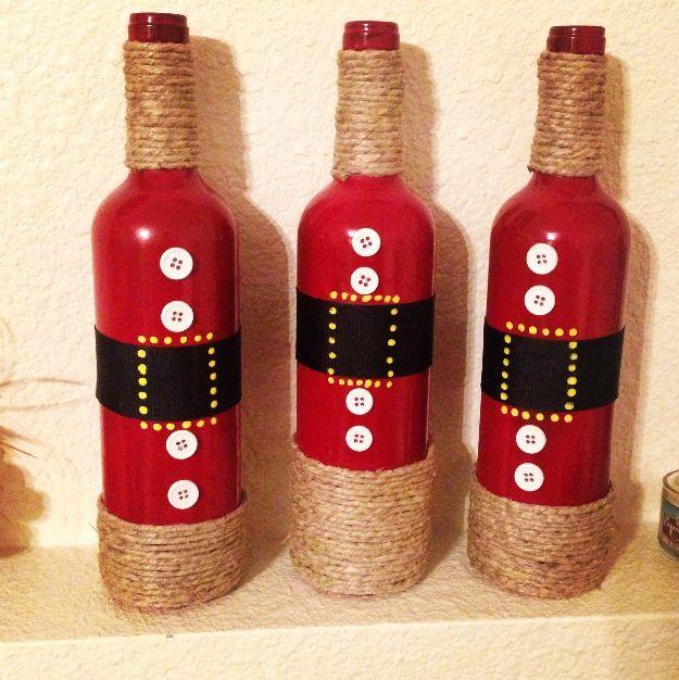 Wine bottle Santa DIY craft. Christmas craft.