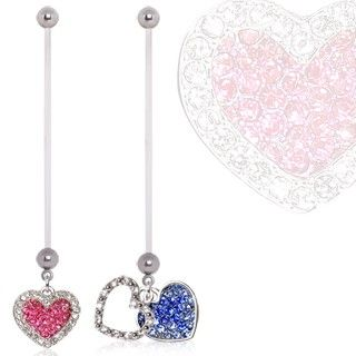 BioFlex Double Layered Heart Dangle Pregnancy Navel Ring $9.99  #pregnant #preggers #expecting #mom #mommy #newmom #girl  #heart #love #pink #blue #sparkle #cz #bellyring #navelring #piercing #bodymod  #bodyjewelry #jewelry  #cocobul #cocobulbodyjewelry