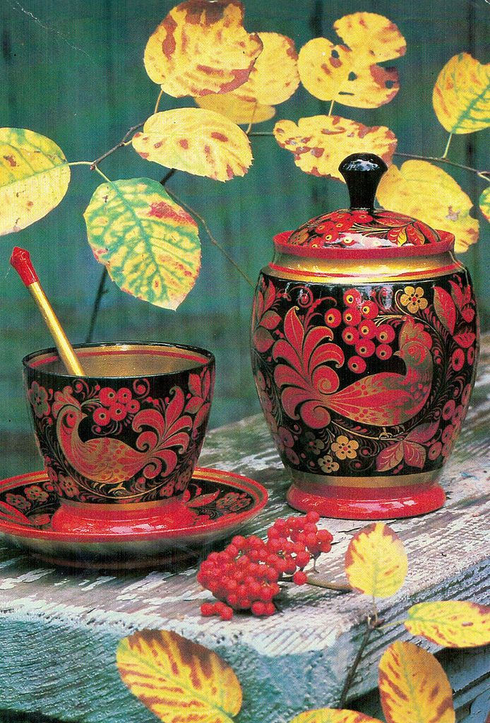 From the set of Khokhloma-painted tableware (1981)