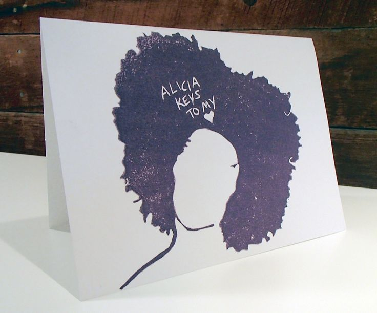 Alicia Keys to my Heart Lino print greeting card, valentine, birthday, hand made, stamped by Wonderfulicious on Etsy