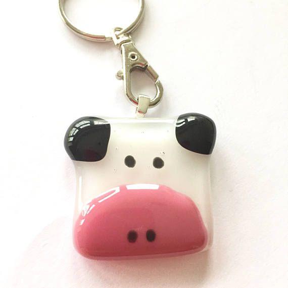 Cow keyring animal key ring cow gift animal gift fun key
