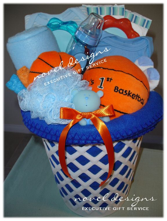 Custom Basketball Baby Gift Basket - Novel Designs Executive Gift Service of Las Vegas. #Baby #GiftBaskets