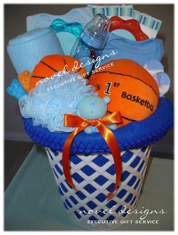 Custom Basketball Baby Gift Basket - Novel Designs Executive Gift Service of Las Vegas. #Baby #GiftBaskets