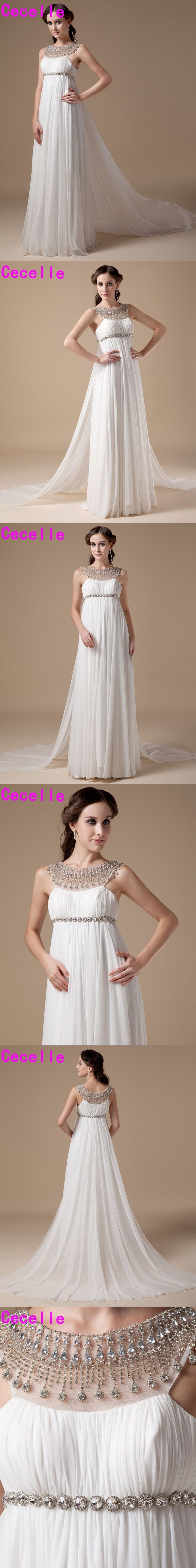 Real Photo 2017 Informal Chiffon Maternity Wedding Dresses Gowns Empire Waist Crystals Bridal Gowns For Pregnant Women Custom