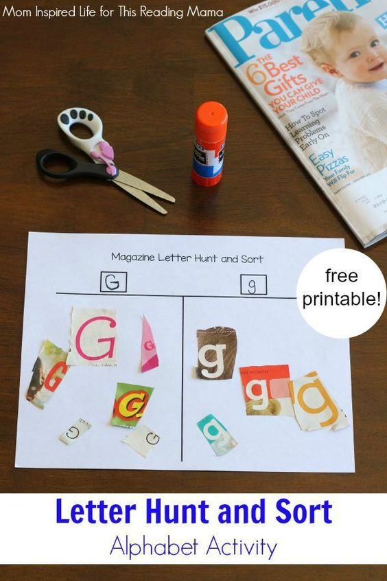 Magazine Letter Hunt and Sort Alphabet Activity {with FREE Printable}.  A great way to work on generalization with your students with special learning needs.  The letter G can look sooo different!  Read more and get your free download:  http://thisreadingmama.com/magazine-letter-hunt-sort-activity/