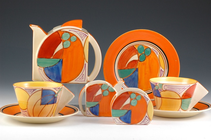 Clarice Cliff Stamford Shape, Early Morning Teaset - Melon Pattern - Fantasque marked -1930