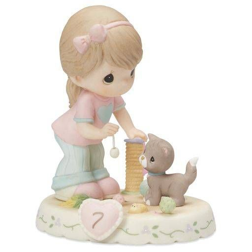 Precious Moments® Growing in Grace—Age 7 Brunette Girl Porcelain Figurine,