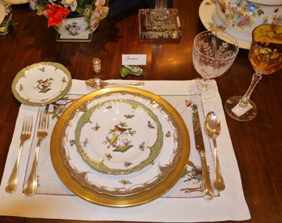A Warm And Wonderful Setting Featuring Herend Rothschild Bird China