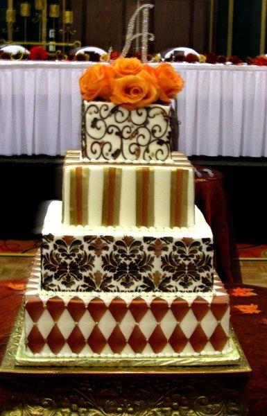Elegant Fall Brown Gold Orange Square Wedding Cakes Photos & Pictures - WeddingWire.com