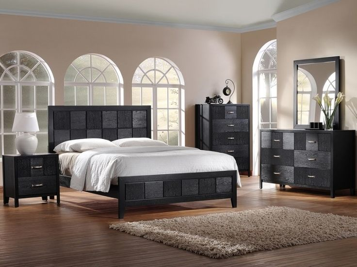 Bedroom, Cool Black Bedroom Furniture Sets In Modern Mediterranean Room Style: Charming Black Bedroom Furniture Sets