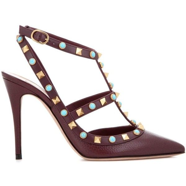 Valentino Valentino Garavani Rockstud Rolling Leather Pumps (£476) ❤ liked on Polyvore featuring shoes, pumps, real leather shoes, roll shoes, genuine leather shoes, maroon pumps and valentino shoes