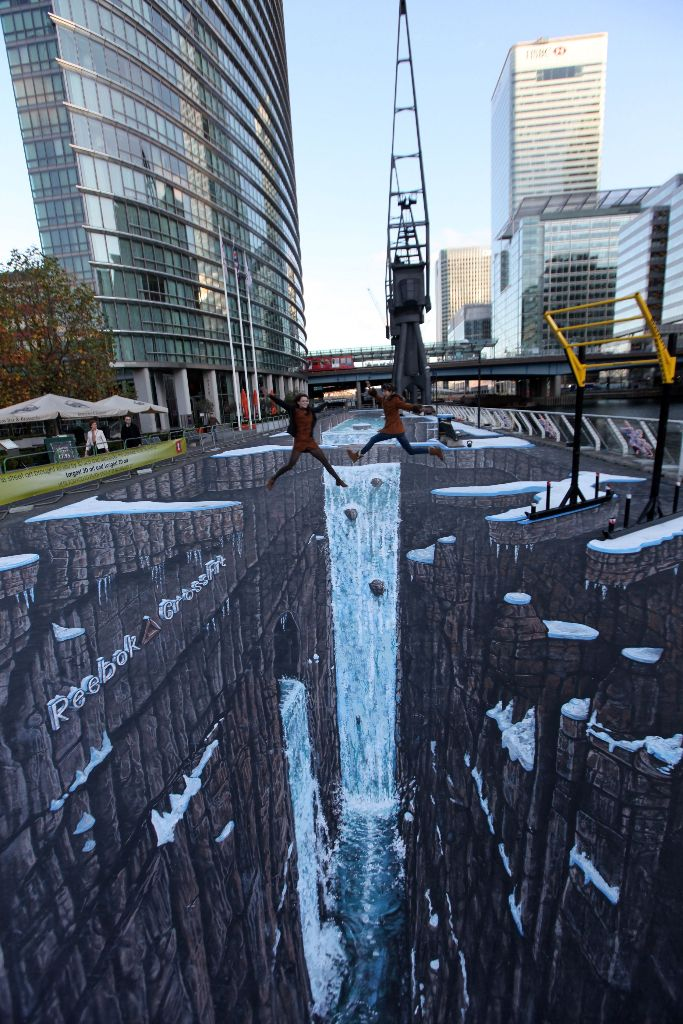 World's largest 3d street art by 3D Joe and Max.West India Quays, Canary Wharf, London.