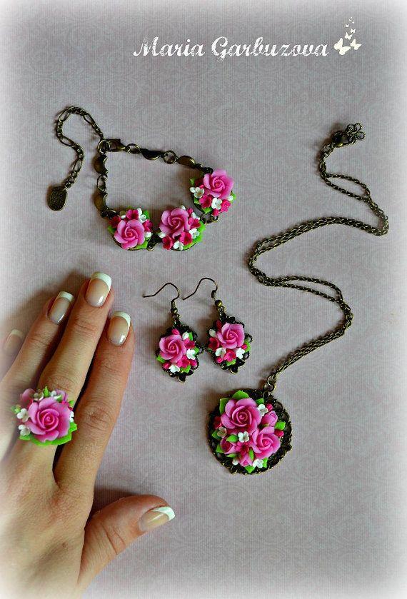 Pendientes de arcilla de polímero joyería hecha a por ShopotShop