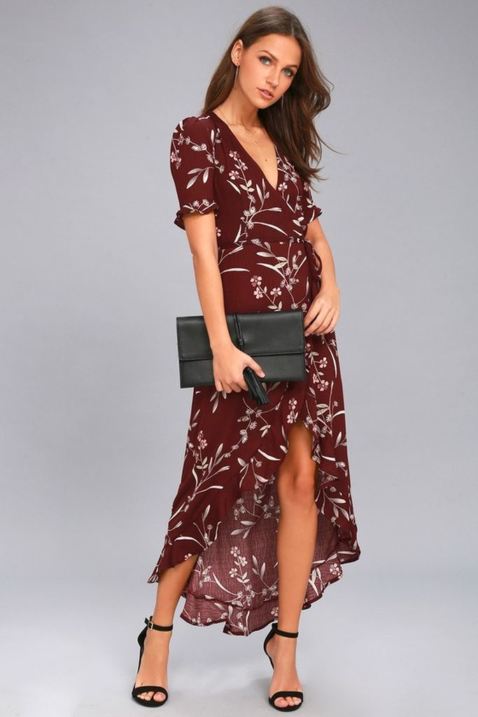 9fd362ef95 Wild Winds Burgundy Floral Print High-Low Wrap Dress – lulus White Midi  Dress