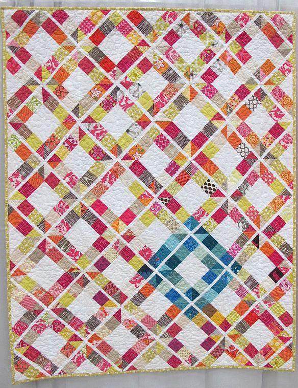 """Trellis Crossroads. Florence, Colorado. Pieced by Jessica Kerkhoff, Carla Fawcett, Elizabeth Adle, Claudia Pate, Mary Gibbons. Quilted by Sandra Smith, Vickey Hughes, Brittney Selby, Jaime Penrod, Tiffany Searle. Quilted by Sandra Smith, Vickey Highes, Brittney Selby, Jaime Penrod, Tiffany Searle, Collaboration quilt created by the Humility Circle of Do. Good. Stitches. Patterns from the book """"Modern Bee""""."""