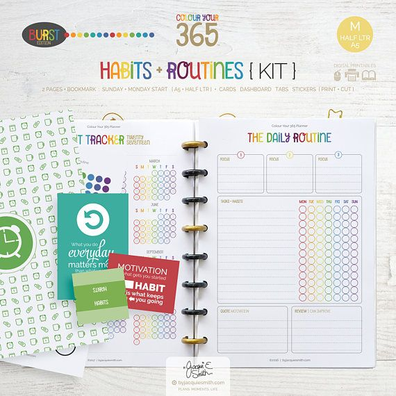 Printable Planner Habits and Routines Page Inserts  A5
