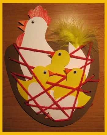 Chicken & chicks in nest #easter #spring crafts