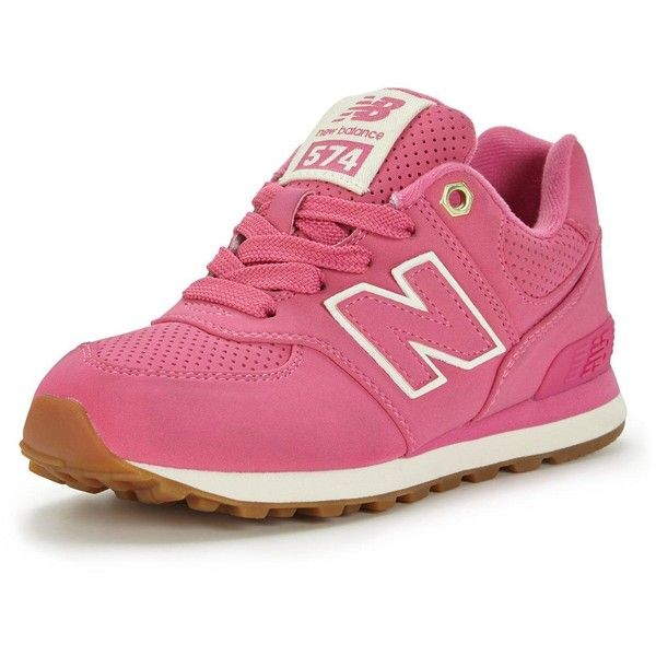 New Balance New Balance Kl574V1P/G Childrens Running Trainers (130 BRL) ❤ liked on Polyvore featuring shoes, new balance, fleece-lined shoes, strappy shoes, strap shoes and lace up shoes