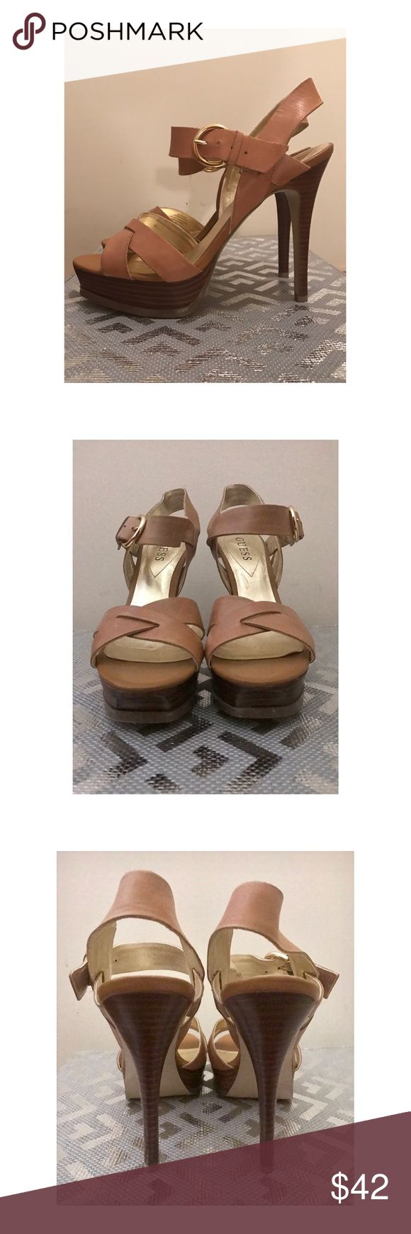 Like New! GUESS HIgh Heel Strappy Sandals Size 7 Worn once to an indoor party, GUESS leather strappy high heel sandals. They look brand new--super cute tan/camel with gold hardware. The Leather is super soft and they look fantastic on. Guess Shoes Heels