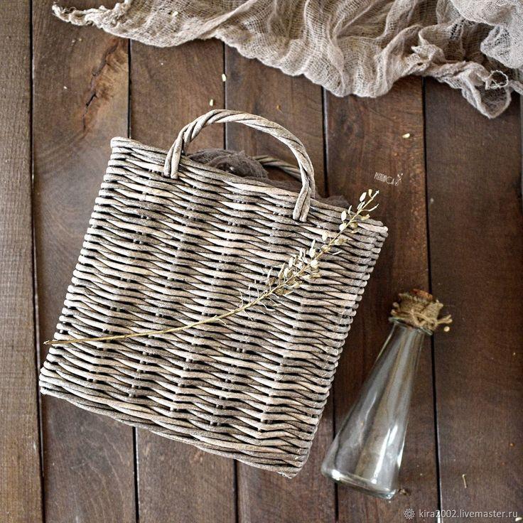 """Купить Плетёный короб с ручками """"Rustic box"""", деревенский стиль - шоколад, коричневый, подарок на новоселье"""