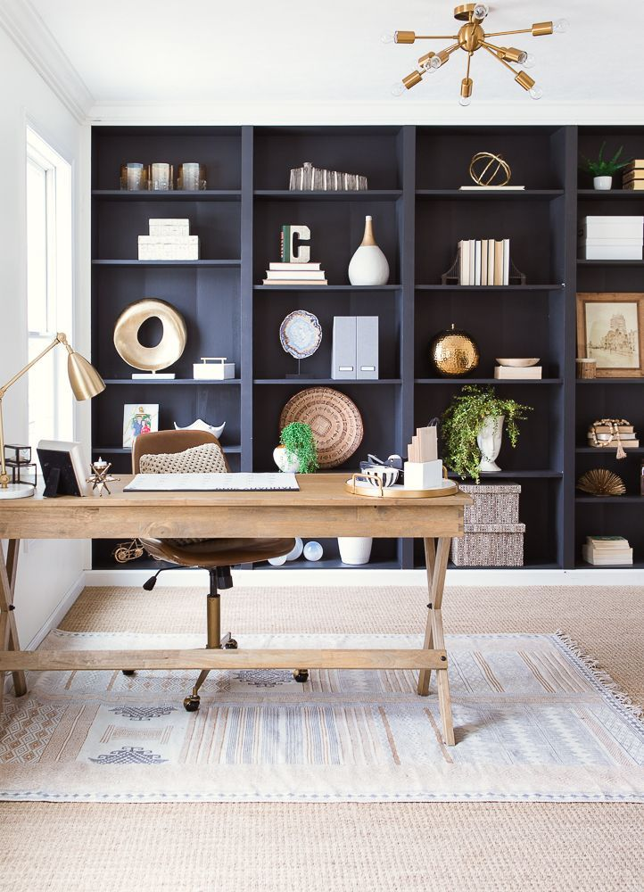 Home Office Reveal With Black Bookshelves And Corkboard Wall Home Office Decor Home Office Shelves Home Office Furniture