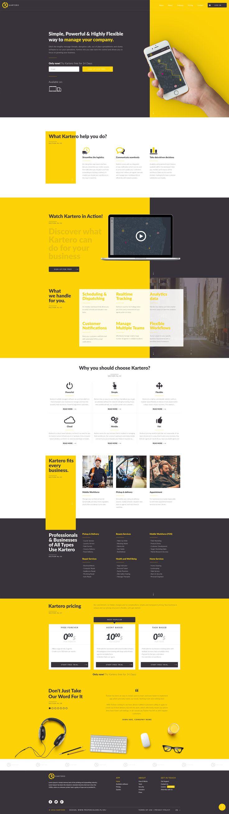 Yellow creative website, Flat design, Clean design