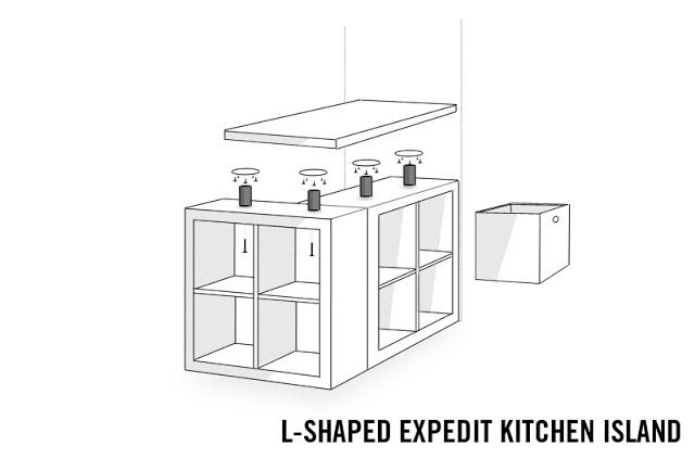 L Shaped Expedit Kitchen Island Ikea Hackers Clever