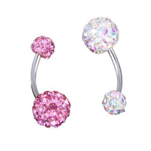 2x piercing nombril en strass/cristal.