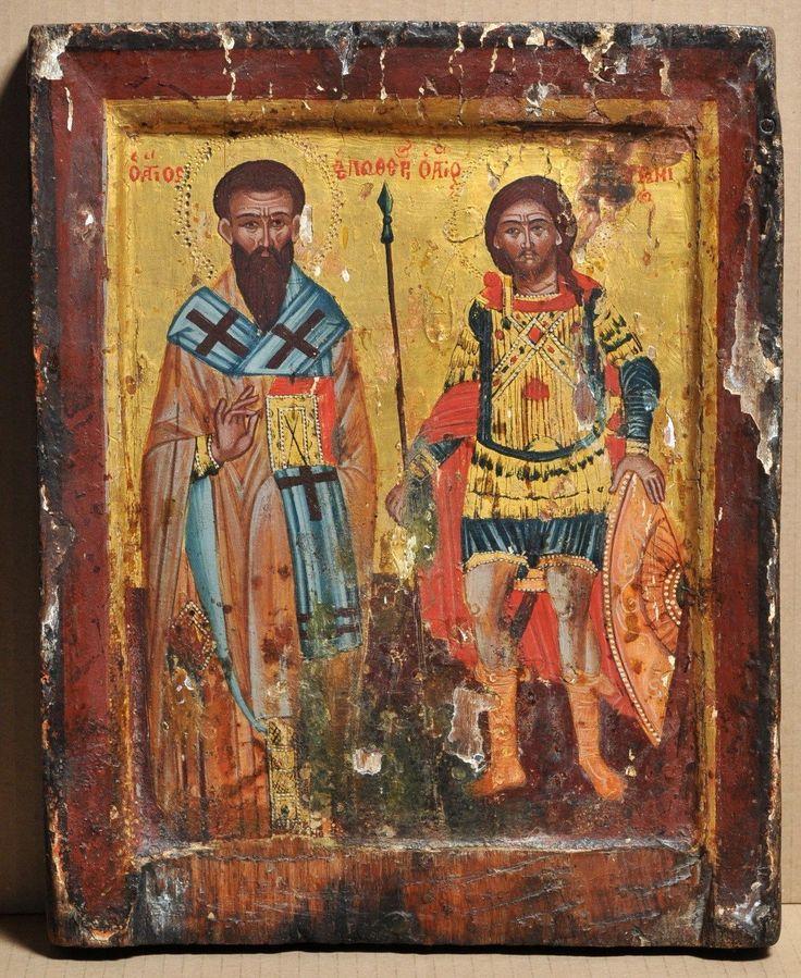 Antique Greek Icon St Eleftherios and St Artemios Tempera Gold Wood 17THC | eBay