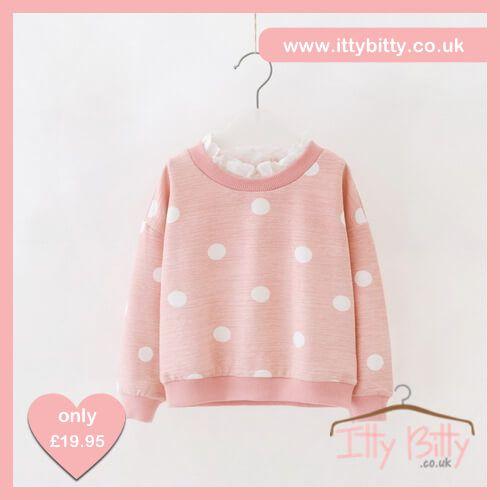 Itty Bitty Autumn Pink Bow Polka Dot Frill Jumper https://www.ittybitty.co.uk/product/itty-bitty-autumn-pink-bow-polka-dot-frill-jumper/ #youngergirls