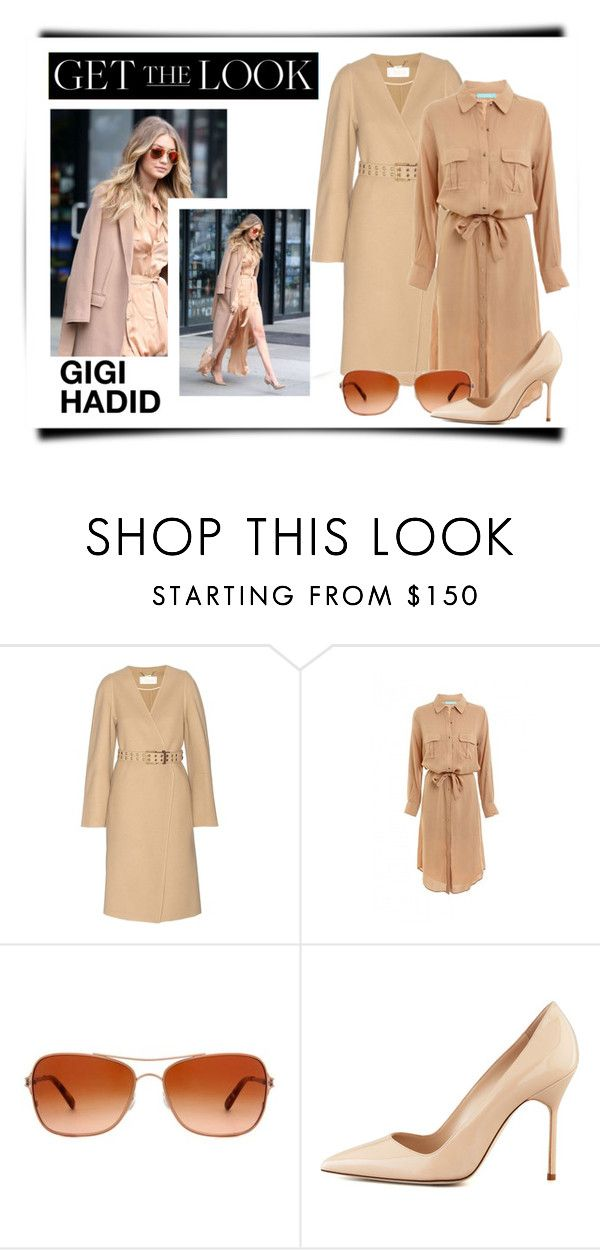 """""""GET THE LOOK: Gigi Hadad"""" by scandalicious ❤ liked on Polyvore featuring Chloé, Melissa Odabash, Oakley, Manolo Blahnik and GetTheLook"""