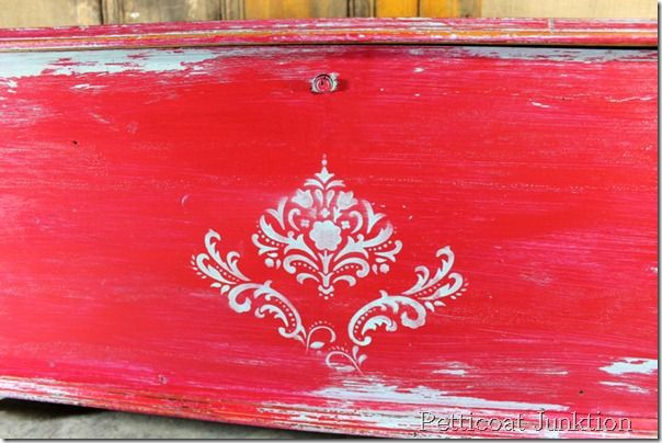 stenciled-painted-distressed-cedar chest, Petticoat Junktion
