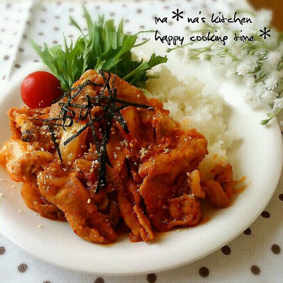 【絶品】韓国風*ガーリックの効いた♥豚キムチ丼♡