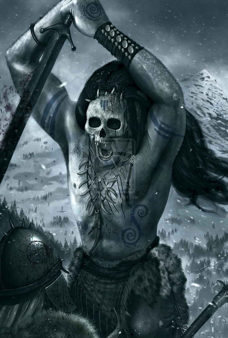 Berserkerswere Norsewarriorswho are primarily reported in theOld Norse literatureto have fought in a nearly uncontrollable,trance-like fury,Berserkers are attested to in numerous Old Norse sources. TheÚlfhéðnar(singular Úlfheðinn), another term associated with berserkers,were said to wear the pelt of a wolf when they entered battle.Úlfhéðnar are sometimes described asOdin's special warriors. Odin's men went without their mailcoats and were mad as hounds or wolves and bit their…