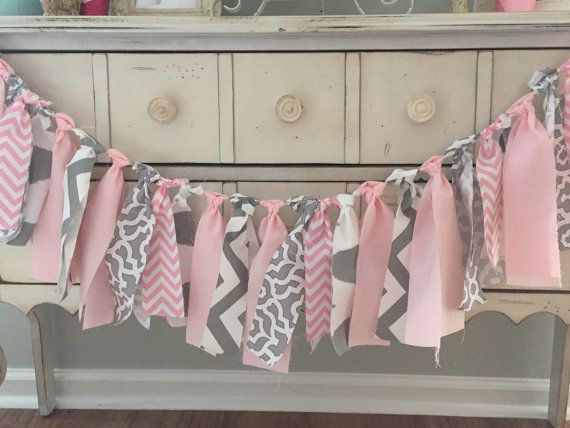 Elephant baby shower banner - Cute decoration for girls baby shower by LoveSews